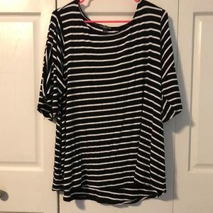 Cable & Gauge Tops - Black and White Striped 3/4 length bell sleeve